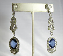 Load image into Gallery viewer, Vintage Stunning Deco Style Faux Sapphire Dangling Earrings