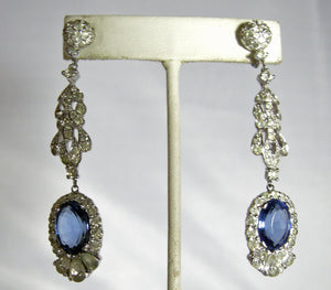 Vintage Stunning Deco Style Faux Sapphire Dangling Earrings