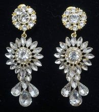 Load image into Gallery viewer, Vintage Signed DeMario 3-Tier Dangling Crystal Earrings