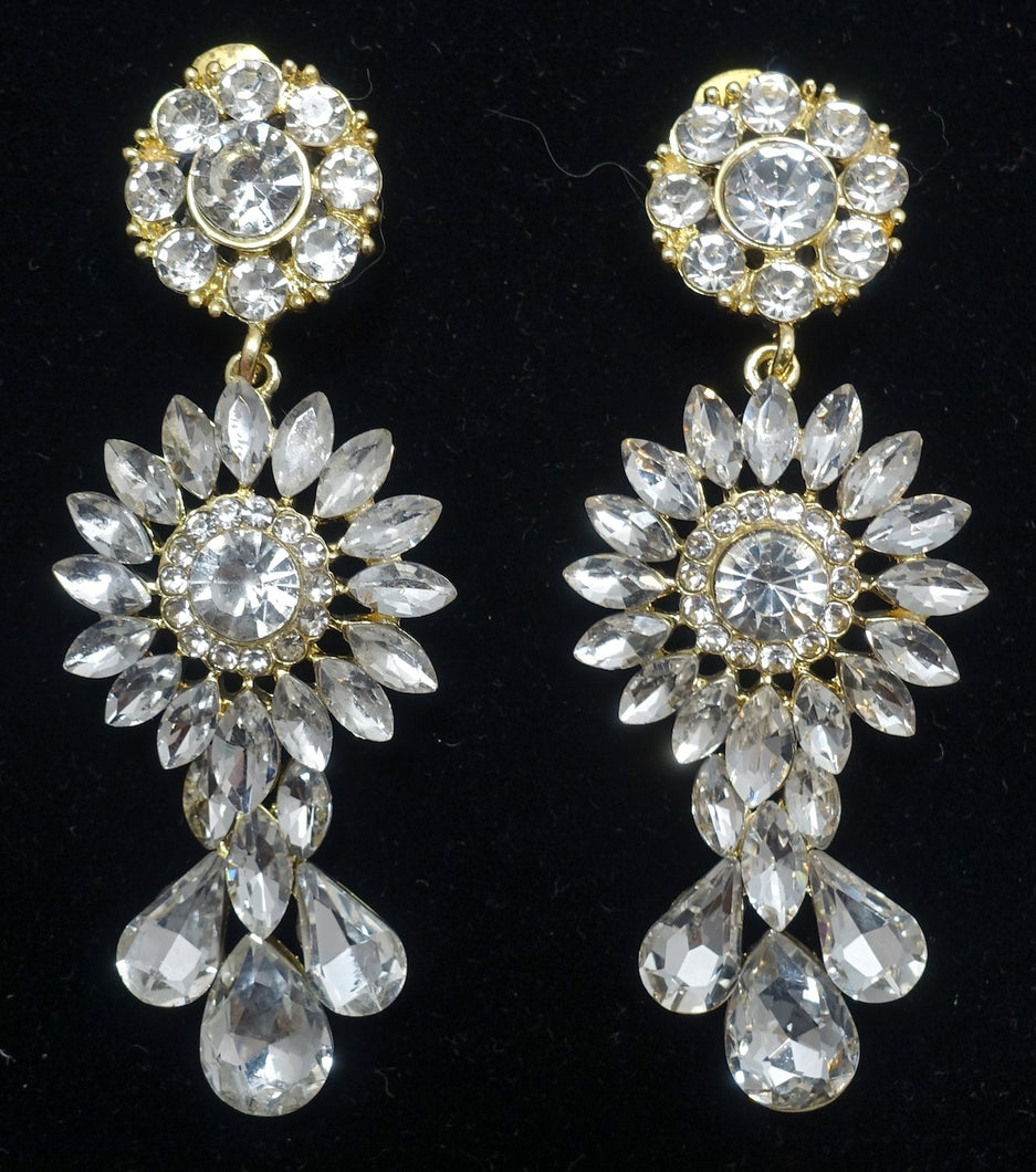 Vintage Signed DeMario 3-Tier Dangling Crystal Earrings