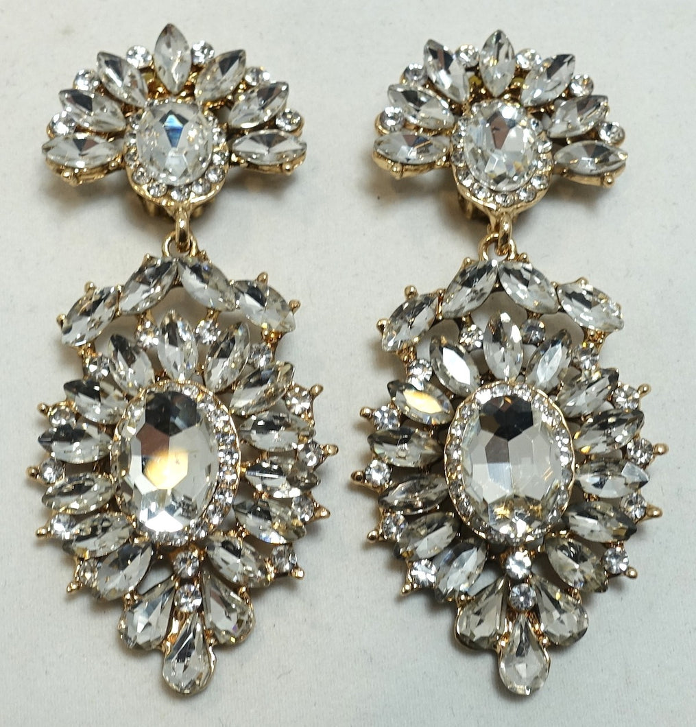 Vintage Signed DeMario Crystal Drop Earrings