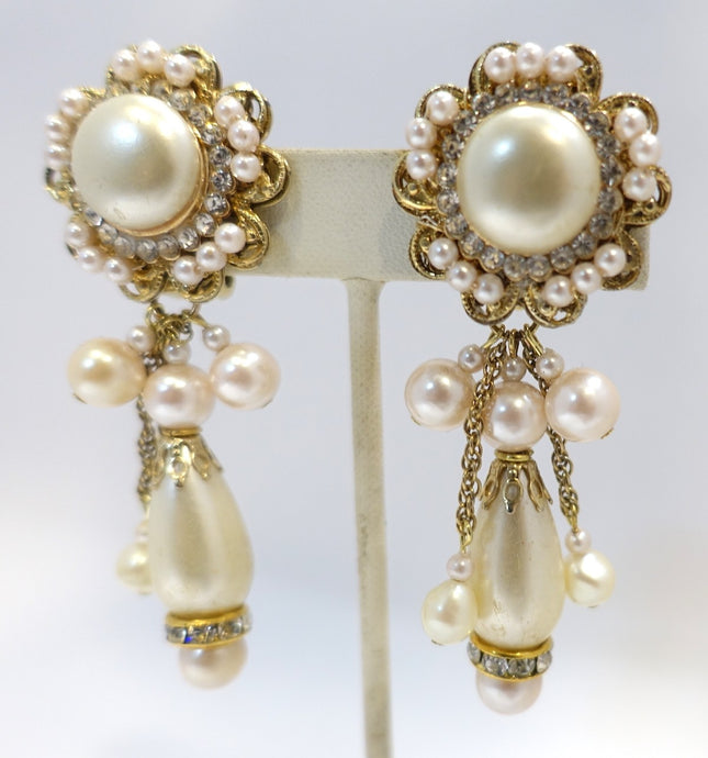 Vintage Signed DeMario Faux Pearl & Crystal Dangling Earrings