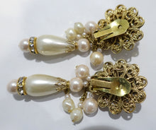 Load image into Gallery viewer, Vintage Signed DeMario Faux Pearl & Crystal Dangling Earrings