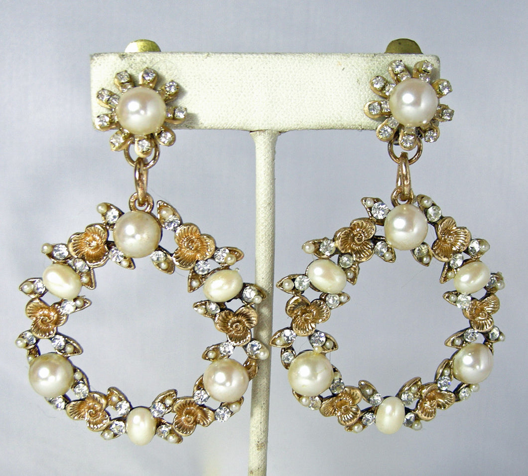 Vintage Signed DeMario Faux Pearl and Rhinestone Dangling Hoop Earrings  - JD10234