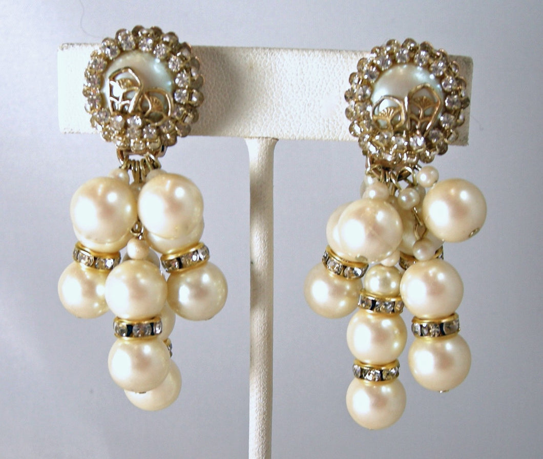 Vintage Signed DeMario Faux Pearls & Crystal Drop Earrings