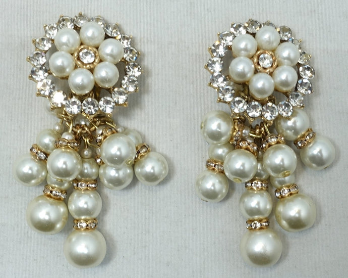 Vintage Signed DeMario Faux Pearl Dangling Earrings