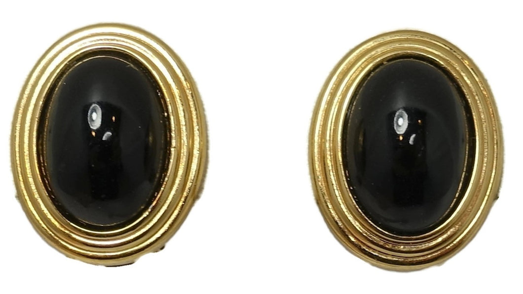 Vintage Signed Christian Dior Black & Gold Earrings