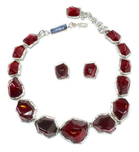 Load image into Gallery viewer, Limited Edition Yves Saint Laurent Red Gripoix Glass Necklace & Earring Set