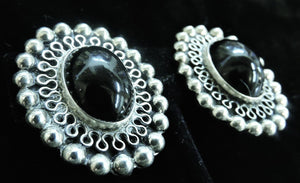 Vintage Signed Taxco Mexico Onyx & Sterling Silver Earrings
