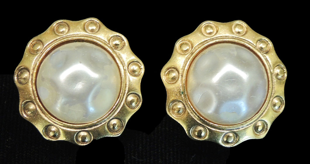 Vintage Signed Chanel France Faux Pearl Earrings