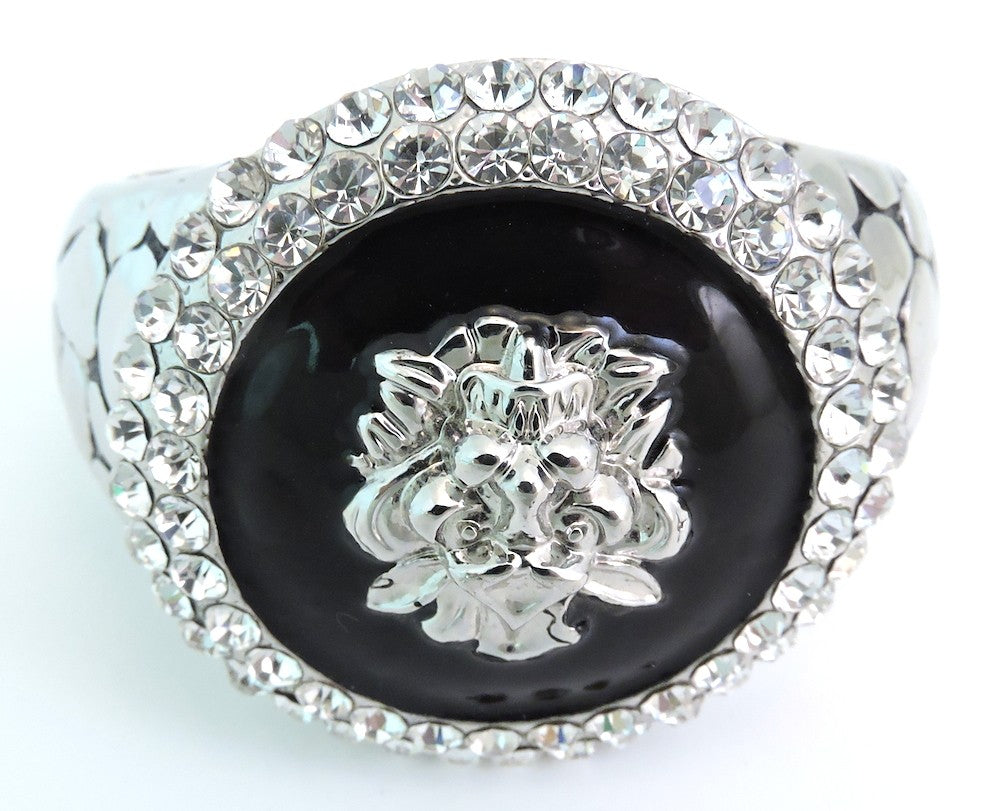 Dramatic WOW Lion's Head Crystal Cuff Bracelet