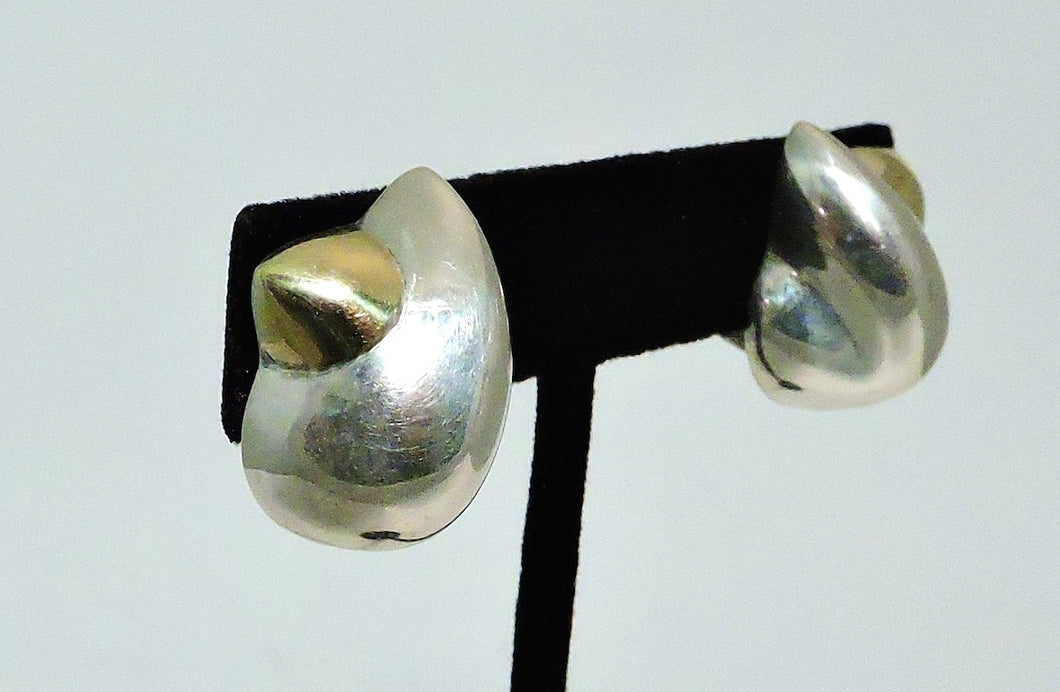 Vintage Signed Von Musulin Sterling Silver and 18 KT Gold Earrings