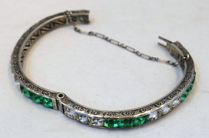 Vintage 1930s Sterling Art Deco Green & Clear Crystal Bracelet