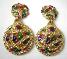 "Load image into Gallery viewer, Vintage ""Jacky De G"" Runway French Dangling Clip Earrings"