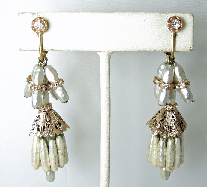 Vintage Baroque Faux Pearl & Crystal Dangle Earrings
