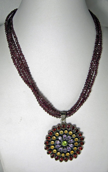 Vintage Sterling Garnet & Multi-Gem Pendant Necklace