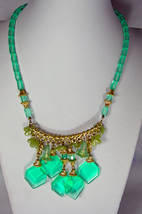 Vintage Green Drop Necklace