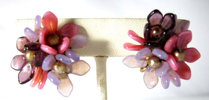 Vintage Germany Multi-Color Glass Floral Earrings