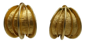 Vintage Gold Tone Ribbed Clip Earrings