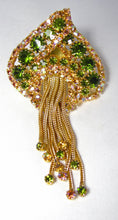 "Load image into Gallery viewer, Vintage 1960s Large 3-1/2"" Green Crystal Dangling Brooch - JD10176"