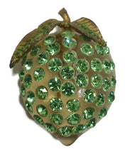 Load image into Gallery viewer, Vintage Art Deco 1930s Green Lucite & Crystal Strawberry Brooch