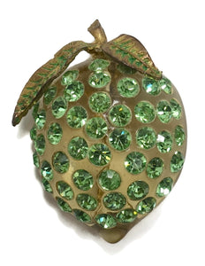Vintage Art Deco 1930s Green Lucite & Crystal Strawberry Brooch