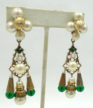 Load image into Gallery viewer, Vintage Signed Kim Green Glass & Faux Pearl Dangling Earrings