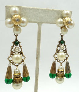 Vintage Signed Kim Green Glass & Faux Pearl Dangling Earrings