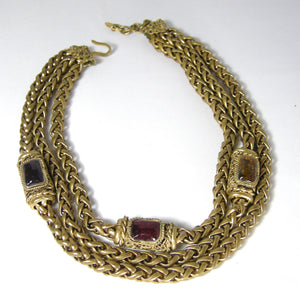Vintage Signed Chanel Chain Choker With Gripoix Medallions 1983 - JD10225
