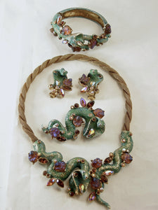 Vintage Har Complete Cobra Parure Necklace, Earrings, Bracelet And Brooch