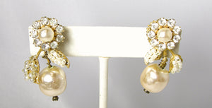 Vintage Signed Miriam Haskell Faux Pearl Earrings