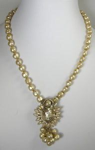 Early Haskell Faux Baroque Pearl Drop Necklace