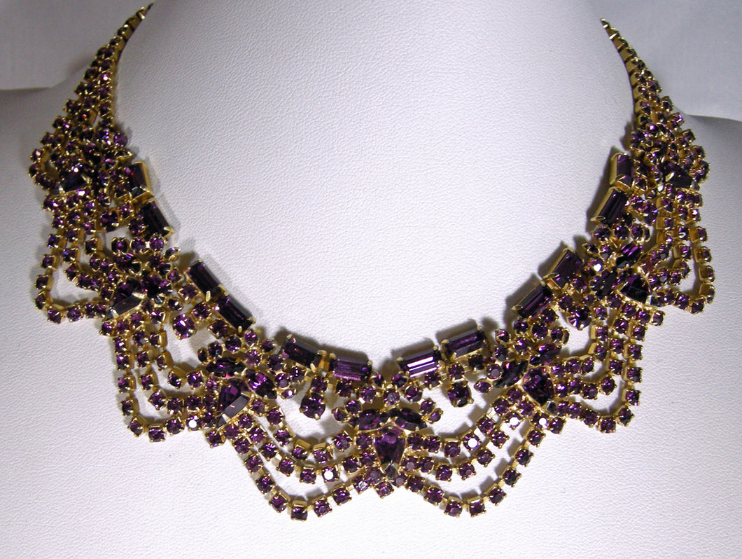 Vintage 50s Signed Hattie Carnegie Purple Crystal Bib Necklace