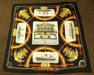 Vintage Signed Hermes France Silk Scarf