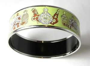 Hermes Lime Color Enamel Bangle Bracelet