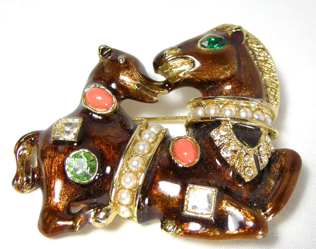Vintage 1960s Enameled Horse & Pony Brooch - JD10178