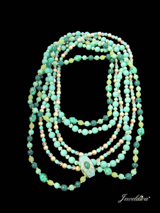 Three (3) Vintage Signed Joan Rivers Faux Turquoise & Pearl Rope Necklaces