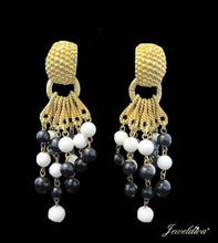 Load image into Gallery viewer, Vintage 1960's Black & White Earrings