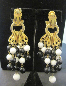 Vintage 1960's Black & White Earrings