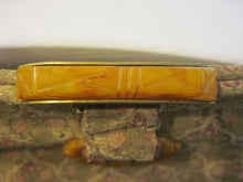 Load image into Gallery viewer, Vintage Art Deco 1920's Made in France Carved Bakelite & Lame Clutch Purse