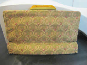 Vintage Art Deco 1920's Made in France Carved Bakelite & Lame Clutch Purse