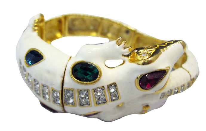 KJL multi-colored jeweled white enamel alligator bracelet