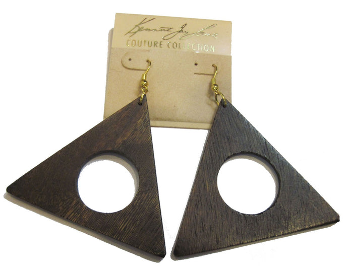 KJL wooden triangle earrings