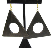 Load image into Gallery viewer, KJL wooden triangle earrings