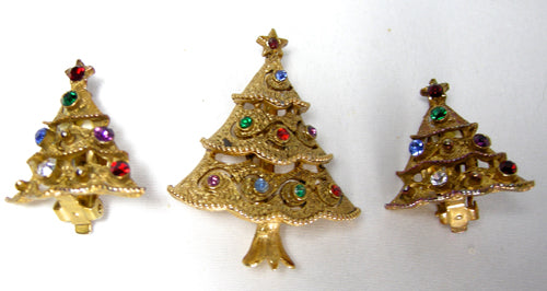 "Vintage Signed ""JJ"" Christmas Tree Set - JD10165"