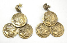 "Load image into Gallery viewer, Vintage Signed ""Joseff"" Coin Dangling Earrings"
