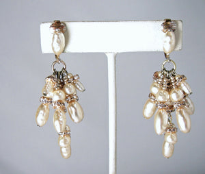 Vintage Signed KIM Faux Pearl & Crystal Earrings