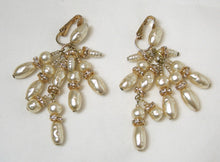 Load image into Gallery viewer, Vintage Signed KIM Faux Pearl & Crystal Earrings