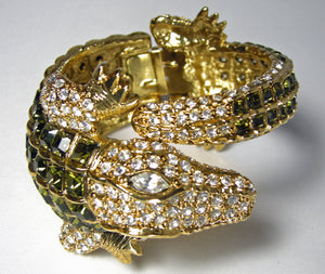Kenneth Jay Lane Alligator Clear & Peridot Crystal Clamper Bracelet - JD10117