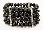 Kenneth J. Lane Black Glass Bead & Rhinestone Stretch Bracelet